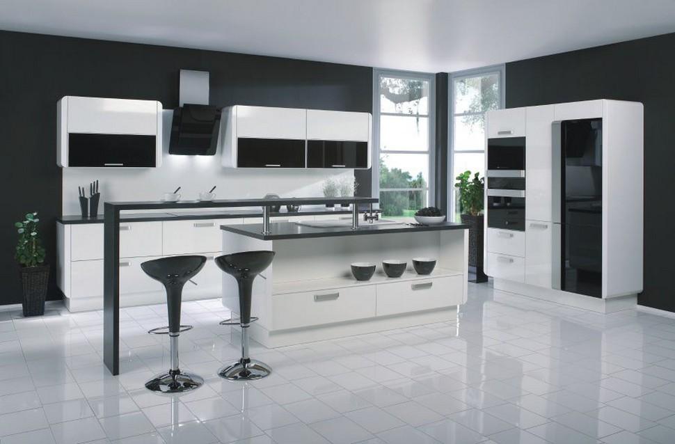 черно белая кухня Heshi Design дизайн студия Heshi Design